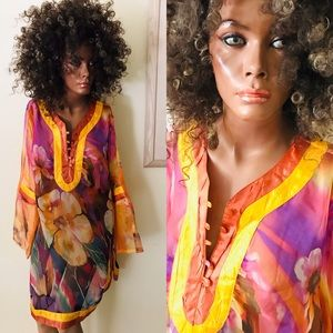 Fabulous Tropical Floral CAFTAN TUNIC Size 18